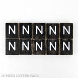 1.5x1.75x.25 wd letter tile s/10 (N) bk/wh
