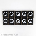 1.5x1.75x.25 wd letter tile s/10 (Q) bk/wh