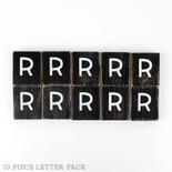 1.5x1.75x.25 wd letter tile s/10 (R) bk/wh