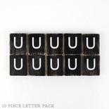 1.5x1.75x.25 wd letter tile s/10 (U) bk/wh