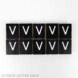 1.5x1.75x.25 wd letter tile s/10 (V) bk/wh