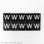 1.5x1.75x.25 wd letter tile s/10 (W) bk/wh