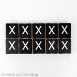 1.5x1.75x.25 wd letter tile s/10 (X) bk/wh