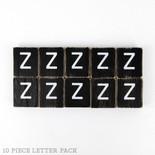 1.5x1.75x.25 wd letter tile s/10 (Z) bk/wh