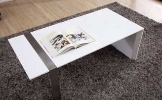 Director Coffee Table in White and Stainless Steel by B-Modern
