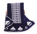 Navy Blue Knit Blanket with White & Gray Sailboats