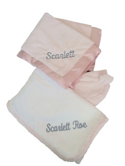 Shown in Pink Luxe with gray thread embroidery. Little Giraffe Luxe Hooded towel is white with Pink Luxe hood & ears. This gift package comes in blue, mocha, celedon, cream & silver gray.