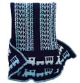 Personalized Train Knit Blanket (Name in Dusty Blue)