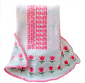 Personalized Tulip Knit Blanket (Petal Pink Tulips)