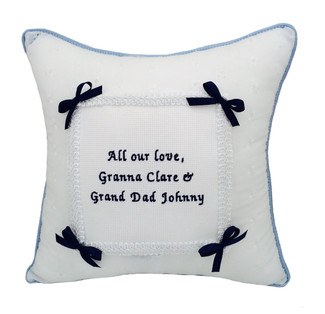 """Double Sided Welted Musical """"Single Bow"""" Baptism & Christening Pillow (shown in Black Thread) (Back)"""