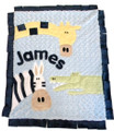 Jungle Friends Appliqué Blanket navy