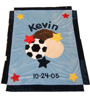 Colors As Shown: Background: Blue Name & Trim: Navy Blue Sport Balls: Primary colors Stars: Primary colors