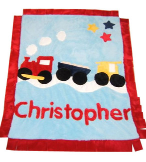 Colors As Shown: Background: Blue Trim: Red Train: Red, Yellow, Black Name (Optional): Red