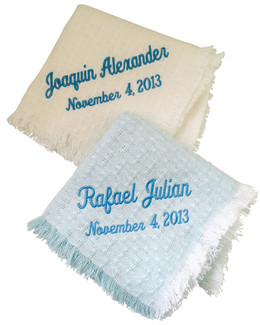 Reflections Blanket with Fringe with Custom Embroidery (White and Blue)
