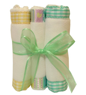 Burp cloths:yellow & mint