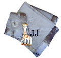 Little Giraffe Crib Blanket and Blanky in Silver