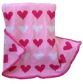 Custom Knit Blanket with Hearts Motif