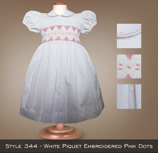 Spring Collection White Piquet Embroidered Pink Dots 344