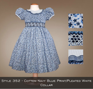 Spring Collection Cotton Navy Blue Print/Pleated White Collar 352