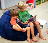 Boys sharing bean bag chair