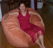 52 inch giant bean bag with 5 foot tall woman