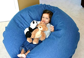 37 inch large bean bag chair with 2 year old girl