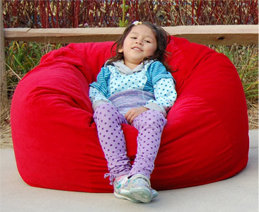 Bean bag chairs outside make great rest stops.