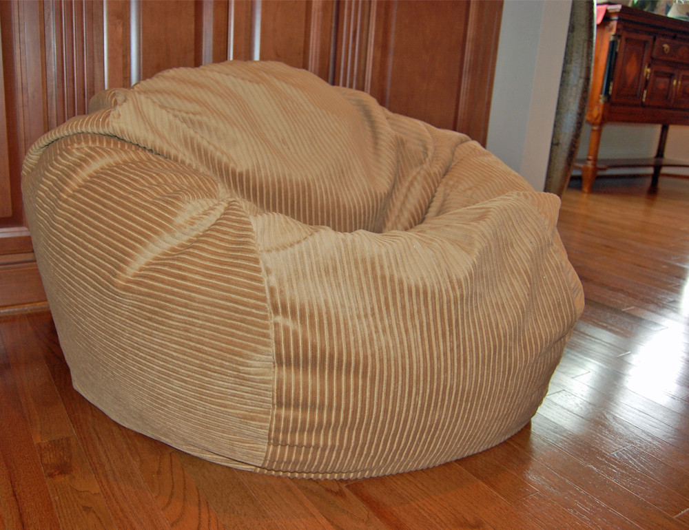Large Ahh Products Wide Corduroy Golden Tan Washable Bean Bag Chair