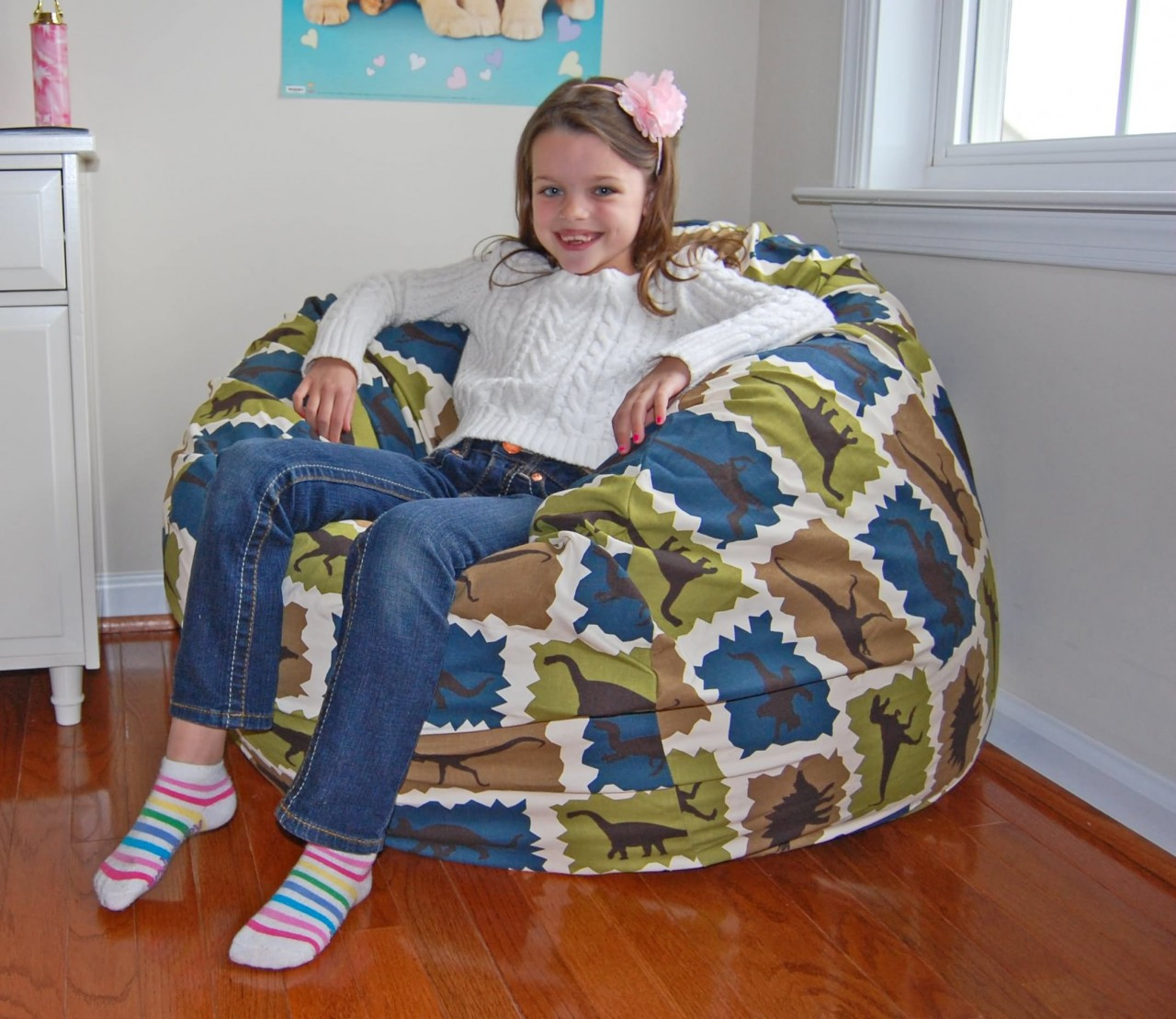 Buy Washable Dinosaurs Cotton Bean Bag Chairs For Kids