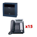 PANASONIC KX-TDE200-NT15 TDE Bundle including (1) TDE200, (1) TDE0110 and (15) NT343-B, Part No# KX-TDE200-NT15
