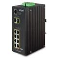 PLANET IGS-10020HPT IP30 SNMP 8-Port Gigabit POE+(AT) Switch + 2-Port Gigabit SFP Industrial Switch (-40 to 75 C), Part  No# IGS-10020HPT