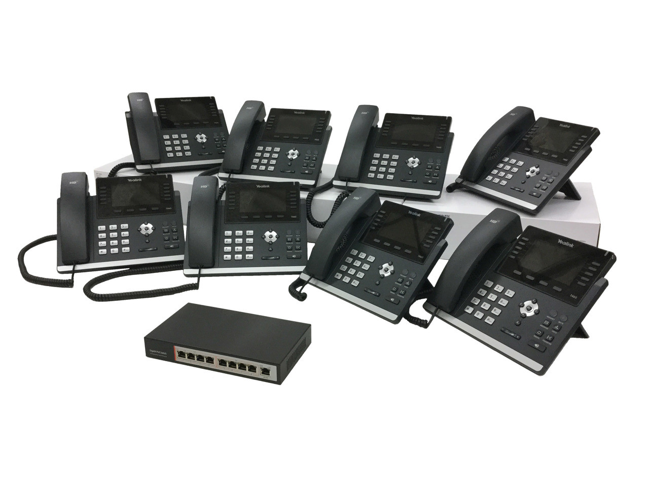 Yealink Ultra-elegant Gigabit Color Bluetooth HD Voice IP Phone w/(9-Port  POE Switch, 8 POE Ports, 8 Extra Coil Cords) Part# SIP-T46G - NEW