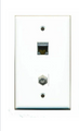 Oversized Wall Plate w/ integrated CAT6(top) & Coax(bottom)