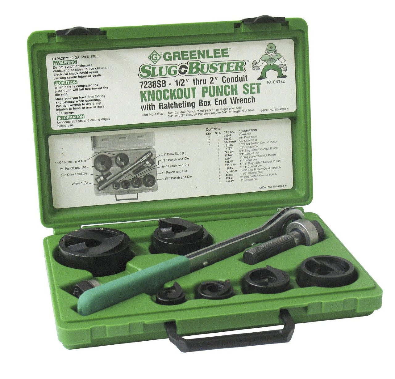 "Greenlee  PUNCH & DIE SET-1/2""-2""SLUG BUSTER ~ Part# 7238SB"