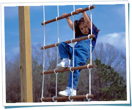 Girl Climbing Rope Ladder