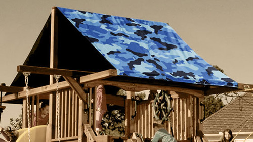 Blue Camouflage Playset Roof Tarp