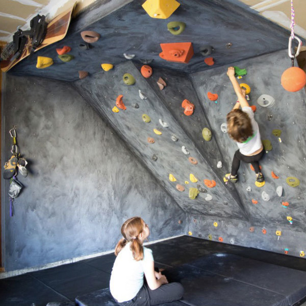 Example of a garage rock wall (holds in picture are different than what's included with this set).