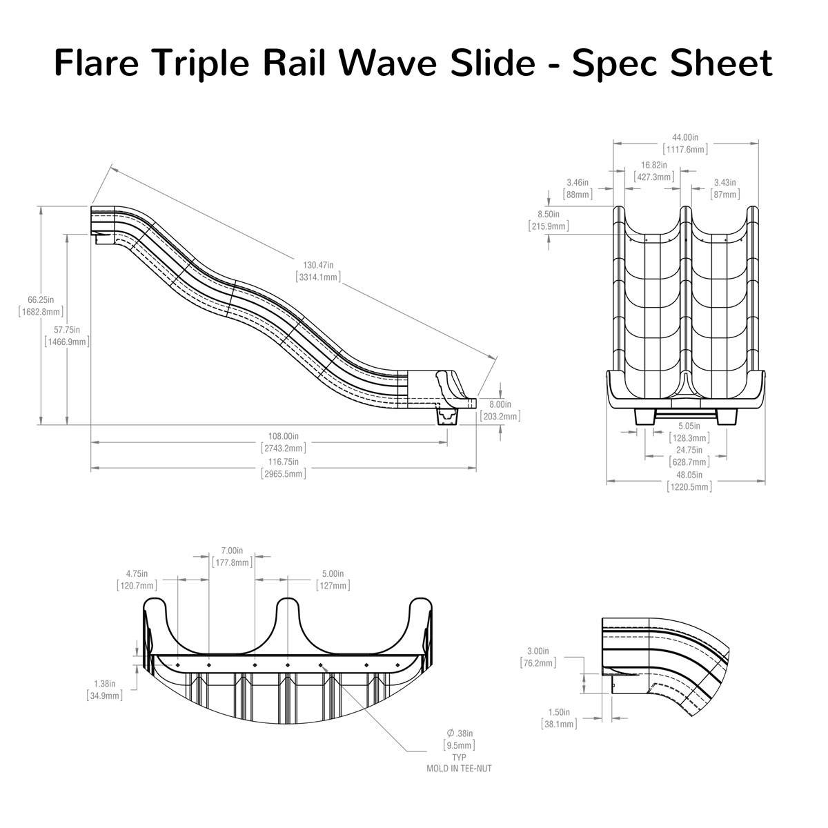 Flare Triple Rail Wave Slide Spec Sheet