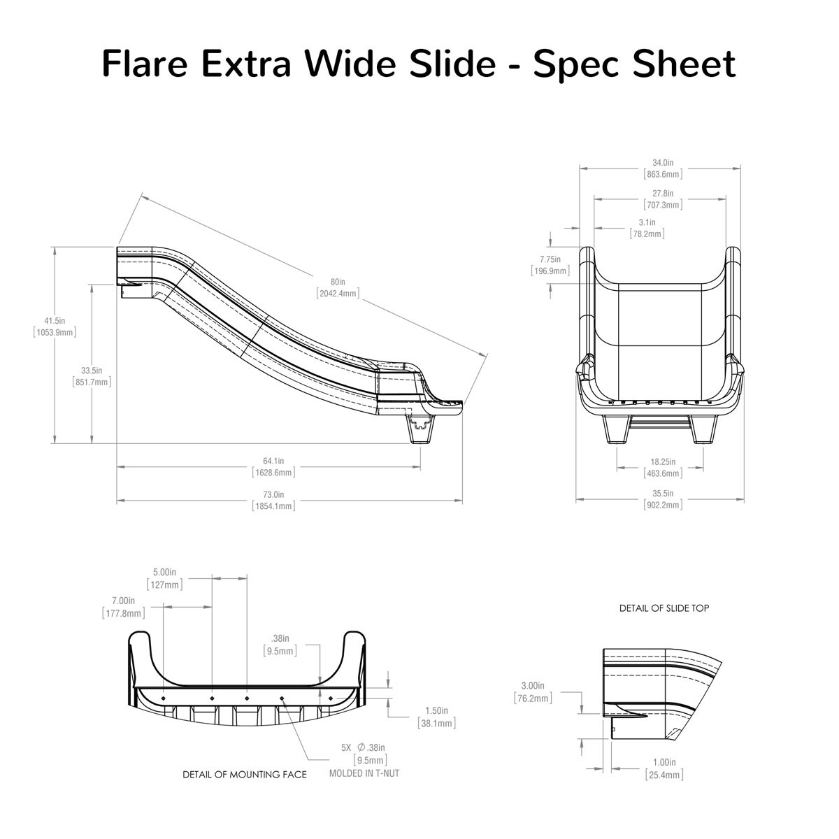 Flare Extra Wide Slide Spec Sheet