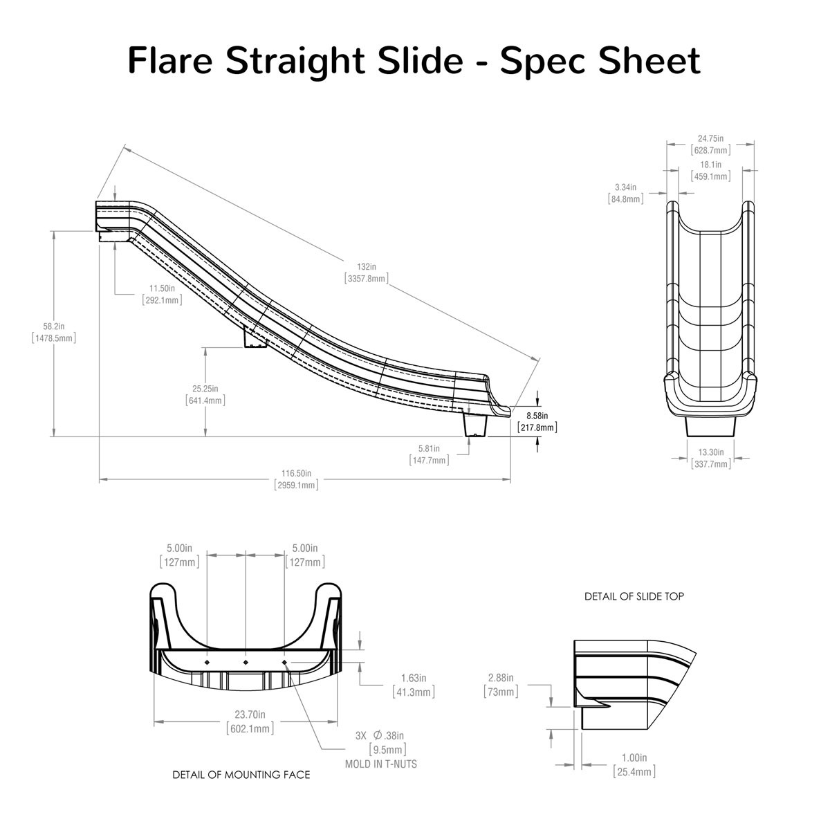 Flare Straight Slide Spec Sheet