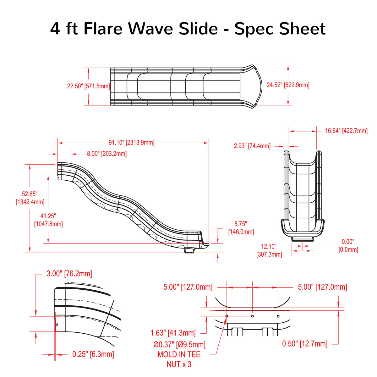 4 ft Flare Wave Slide Spec Sheet
