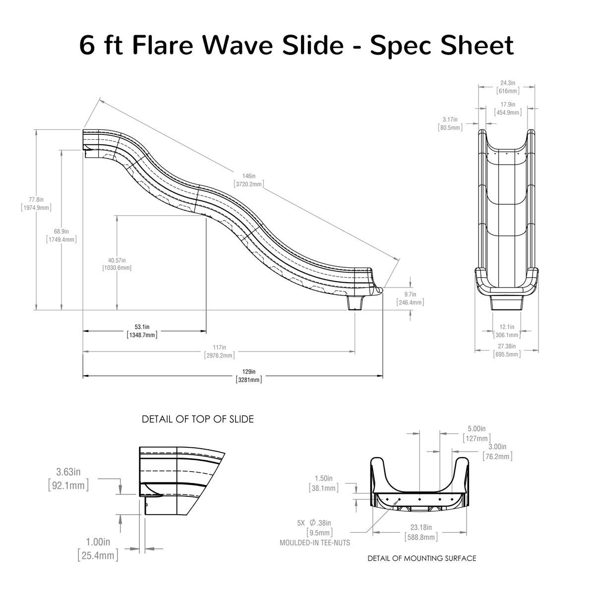 6 ft Flare Wave Slide Spec Sheet