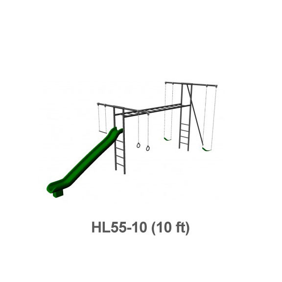 Metal Horizontal Ladder Swing Set with Slide - 10 ft Frame Height