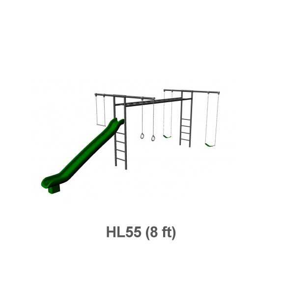 Metal Horizontal Ladder Swing Set with Slide - 8 ft Frame Height