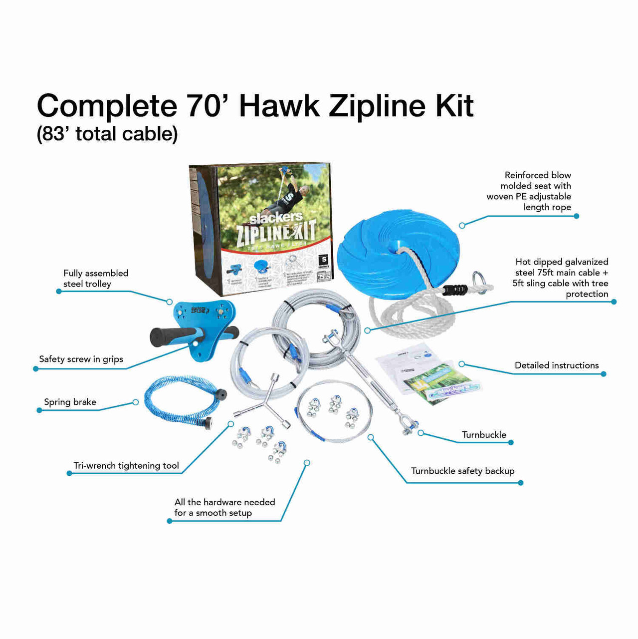 Slackers 70 ft Hawk Zipline Kit with contents explained - SLA-513