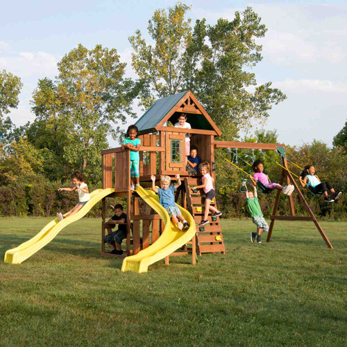 Castlebrook Complete Swing Set (WS-8355) - Children Playing