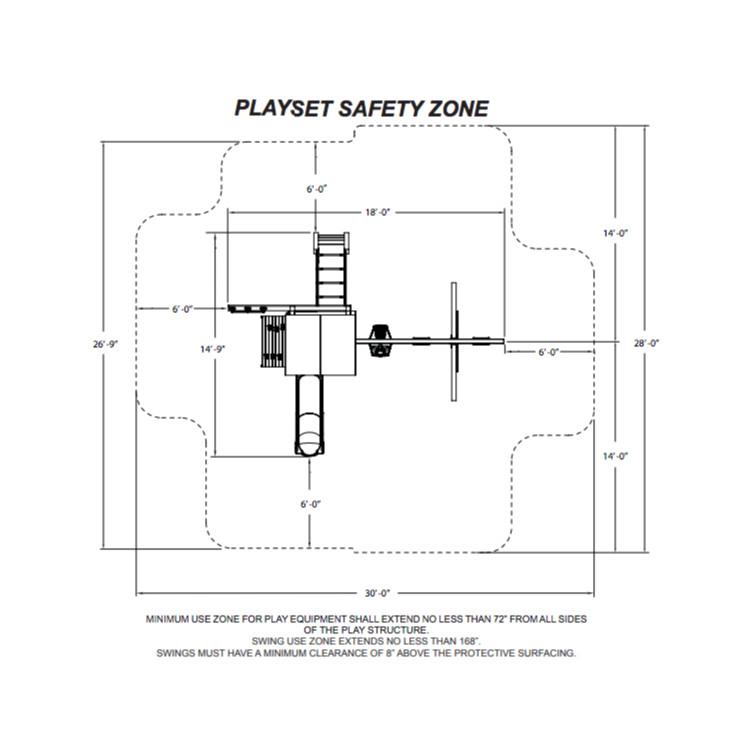 Trekker Complete Swing Set (PB-8320) Safety Zone