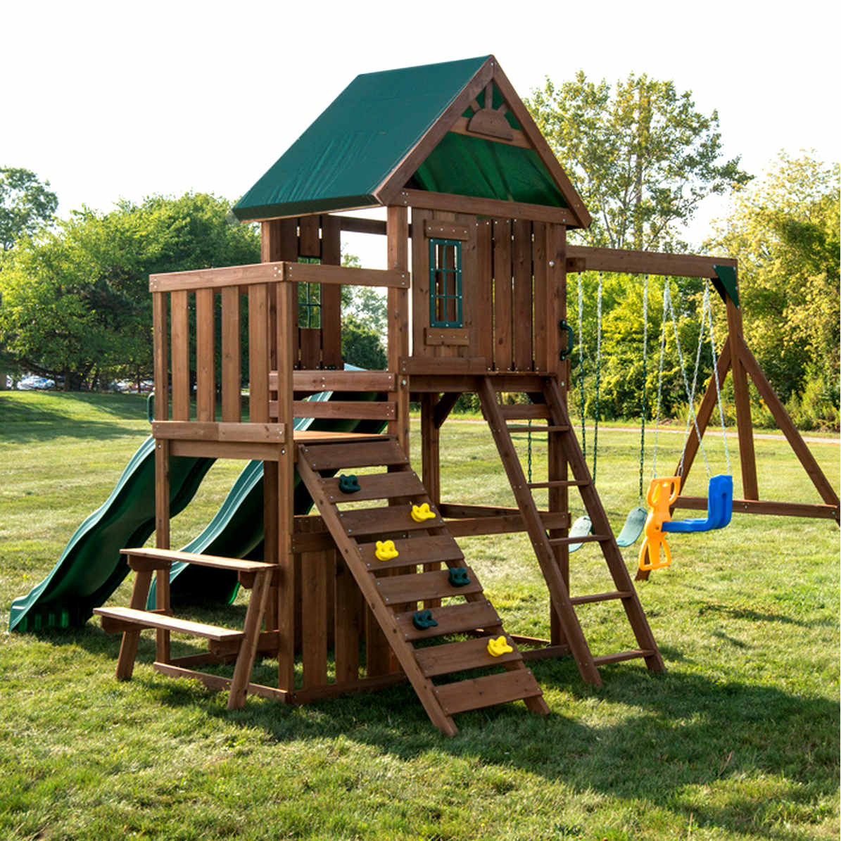 Willows Peak Deluxe Complete Swing Set (WS-8350) Side View