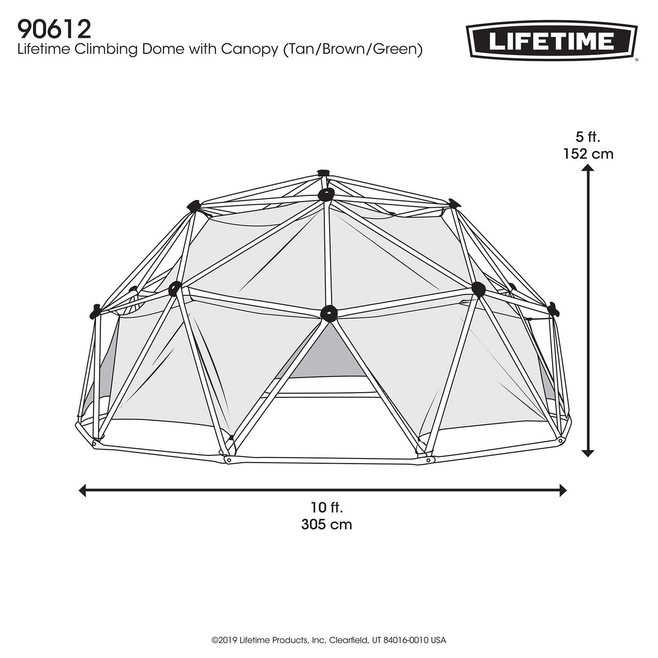 Lifetime Geo Dome Climber with Tent - Dimensions