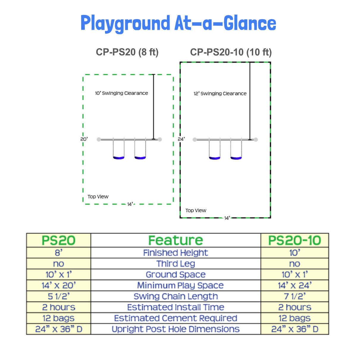 Metal Post Swing Set with 2 Swings  (CP-PS20) Playground at a Glance